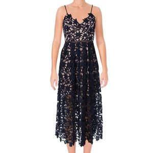 Aqua Black Illusion Lace Overlay Midi Dress Sz L